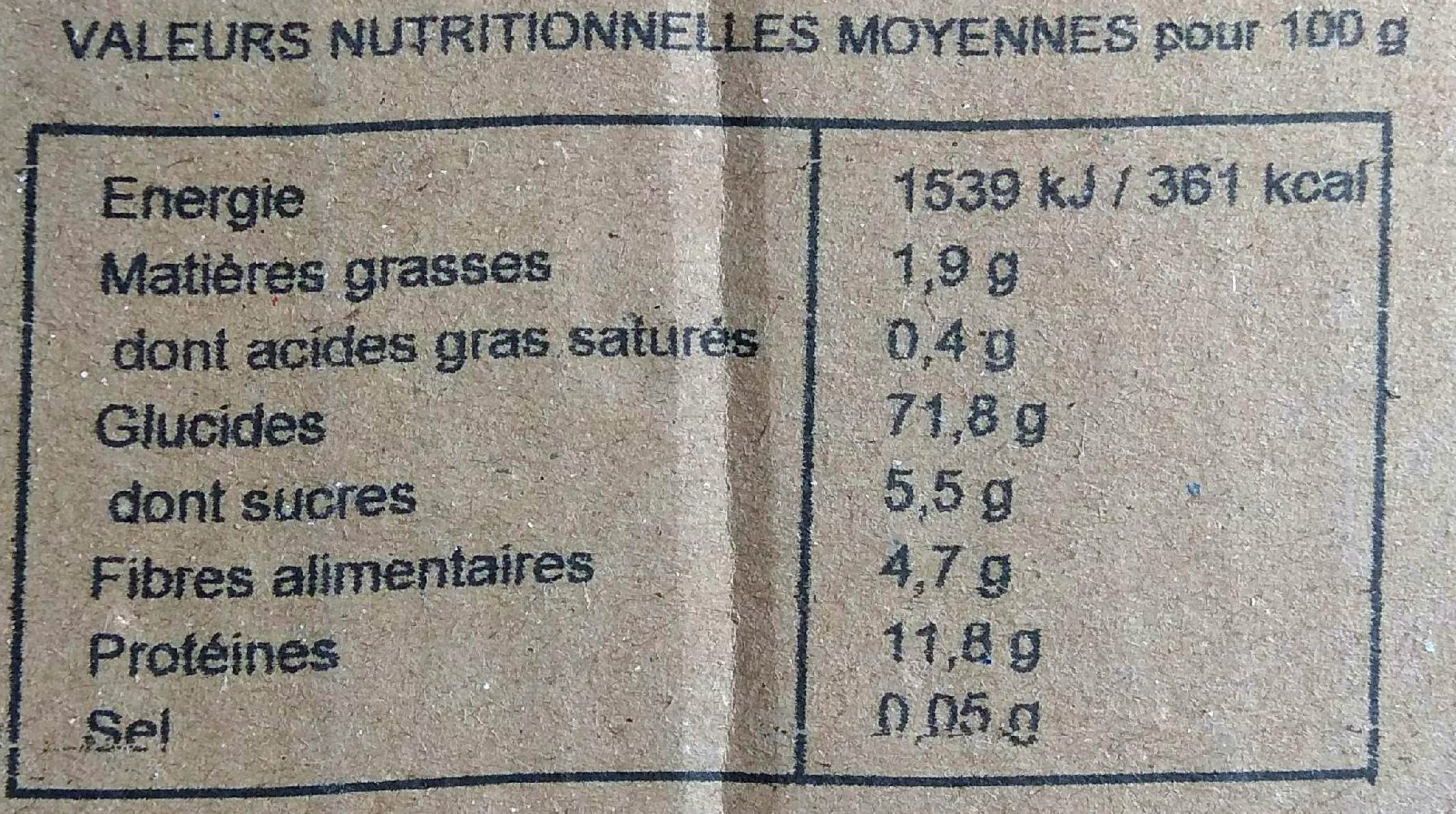 Spirale semi-complète bio - Informations nutritionnelles - fr
