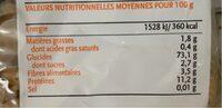 Spirale Blanc - Informations nutritionnelles - fr
