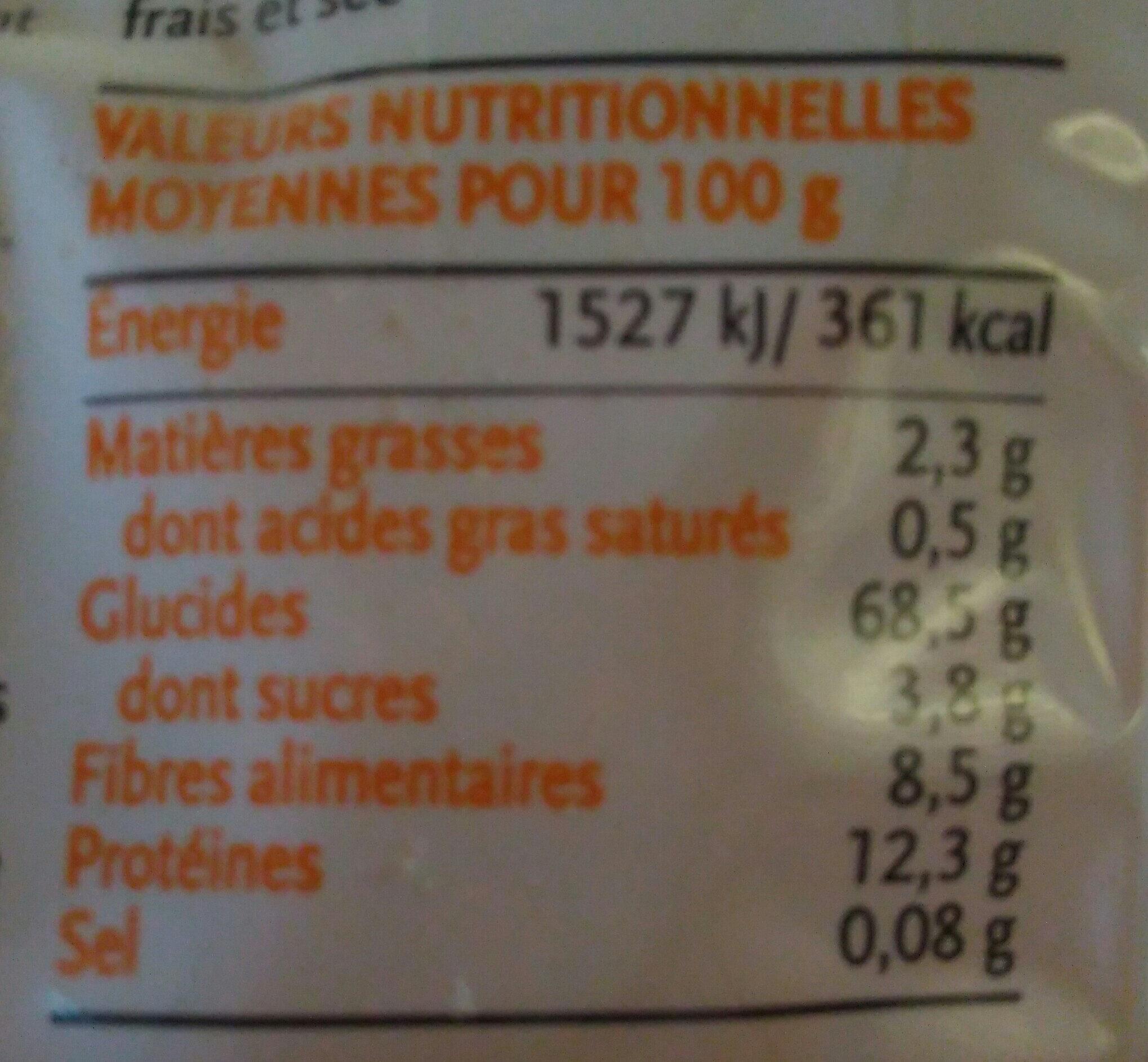 Coquillette complète - Informations nutritionnelles - fr