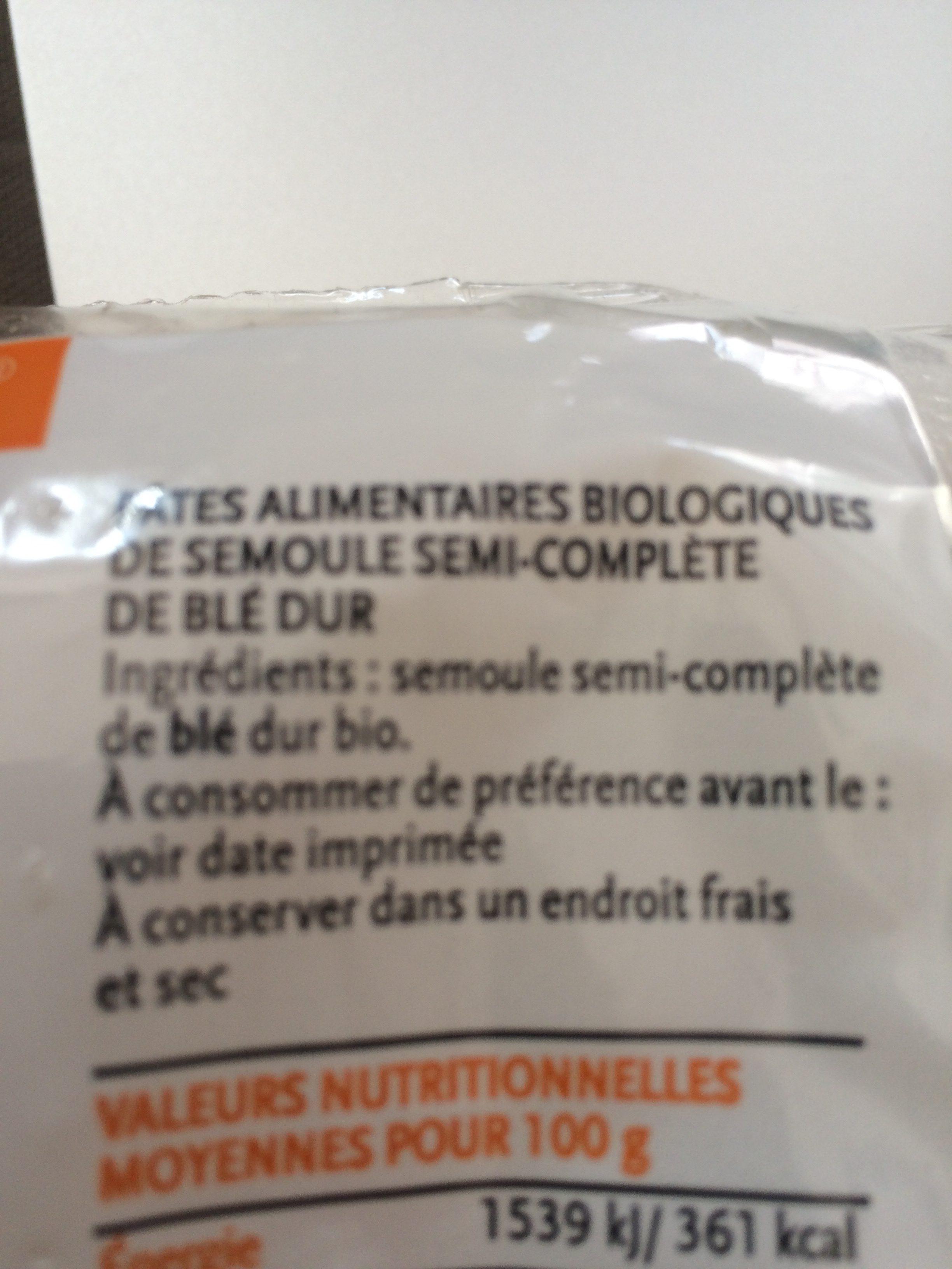 Penne semi-complète de blé dur - Ingrédients - fr