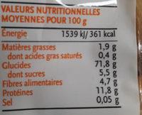Penne semi-complète de blé dur - Informations nutritionnelles - fr