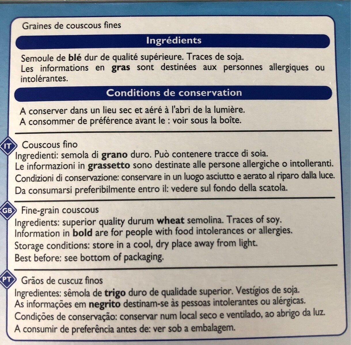 Couscous fin - Ingrédients