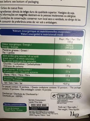 Couscous fin - Informations nutritionnelles