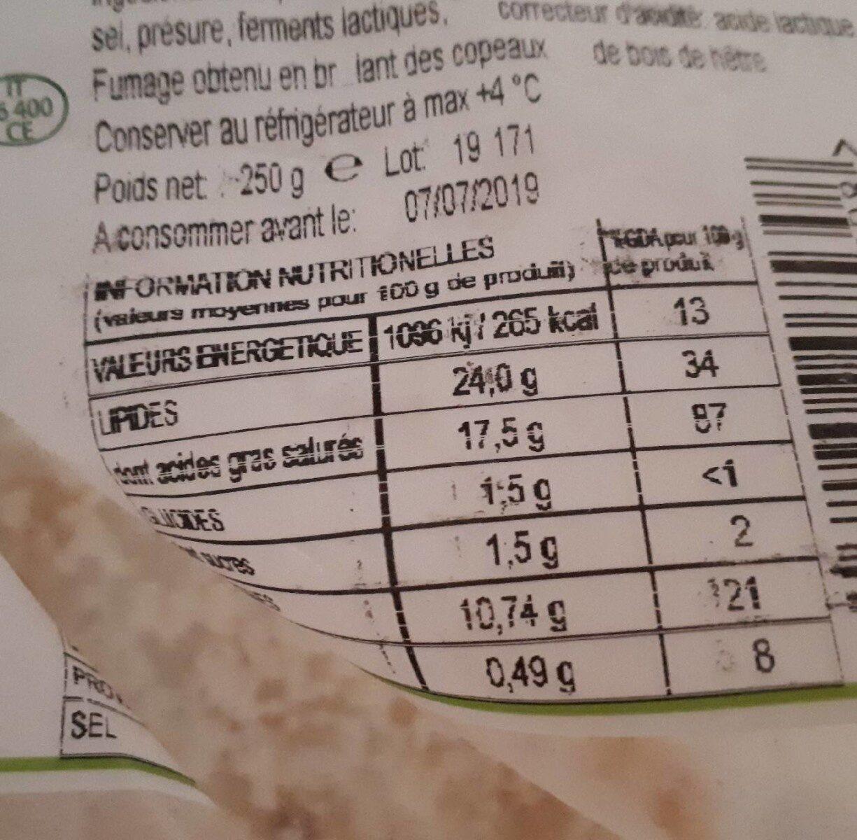 Burratina fumé - Voedingswaarden - fr