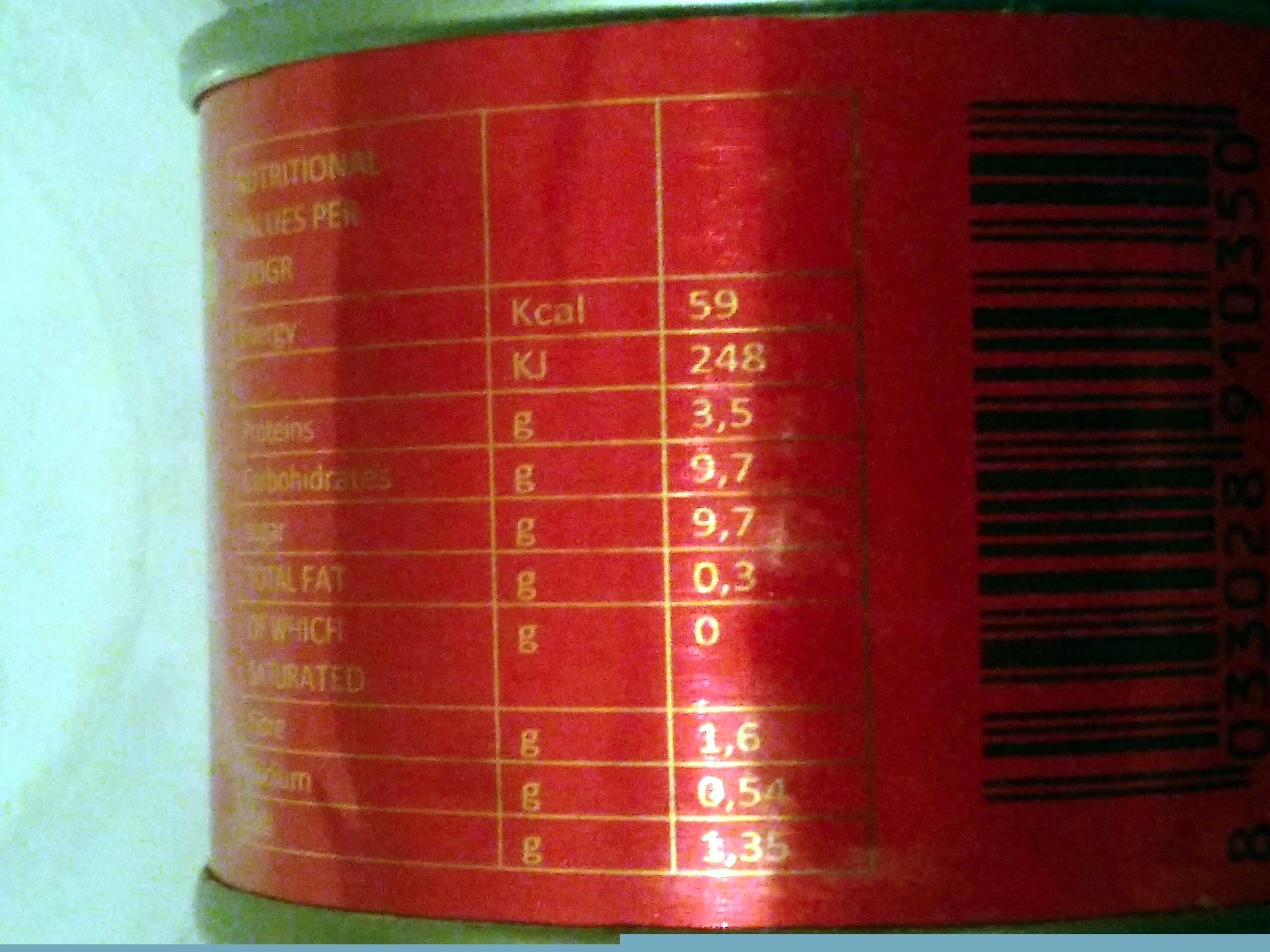 Nova tomato paste - Nutrition facts