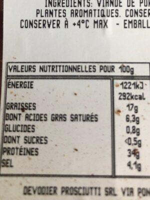 Speck sans gluten - Voedingswaarden - fr