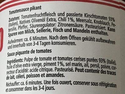 Sugo di pomodoro all' arrabbiata - Ingredients - fr