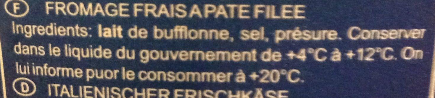Mozzarella di bufala campana D.O.P - Ingredients