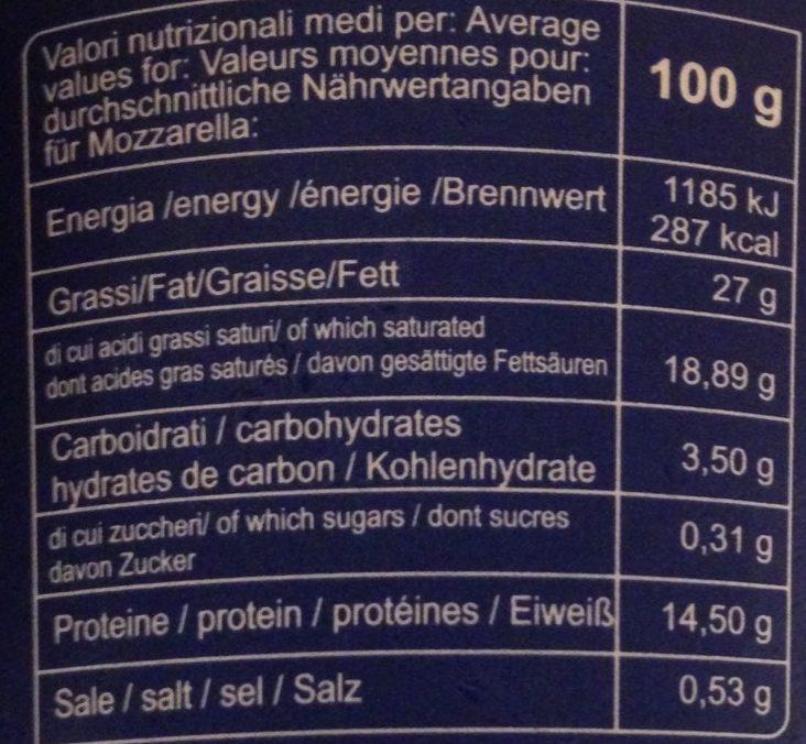 Mozzarella di bufala campana D.O.P - Nutrition facts