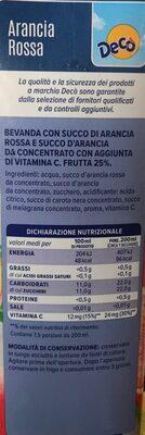 Arancia Rossa - Voedingswaarden