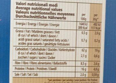 Fette biscottate - farina integrale di farro - Valori nutrizionali - it