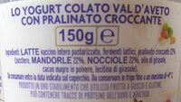 Yogurt colato con pralinato croccante - Ingredients