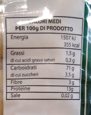 gnocchetti sardi - Informations nutritionnelles - it
