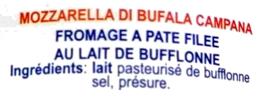 Mozzarella di bufala campana bille - 成分 - fr