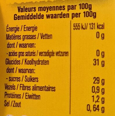 Purée de piments - Voedingswaarden - en