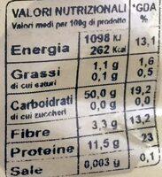 Orecchiette rustiche - Informations nutritionnelles