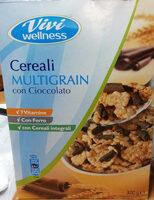 cereali multigrain con cioccolato Fiocchi di riso e frumento integrali arricchiti con vitamine B1, B2, PP, acido folico, B12, B5, e ferro, con riccioli di cioccolato - Produit - it