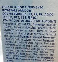 cereali multigrain con cioccolato Fiocchi di riso e frumento integrali arricchiti con vitamine B1, B2, PP, acido folico, B12, B5, e ferro, con riccioli di cioccolato - Ingrédients - it