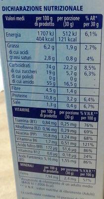 cereali multigrain con cioccolato Fiocchi di riso e frumento integrali arricchiti con vitamine B1, B2, PP, acido folico, B12, B5, e ferro, con riccioli di cioccolato - Informations nutritionnelles