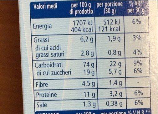 Cereali multigrain con cioccolato - Informations nutritionnelles - it