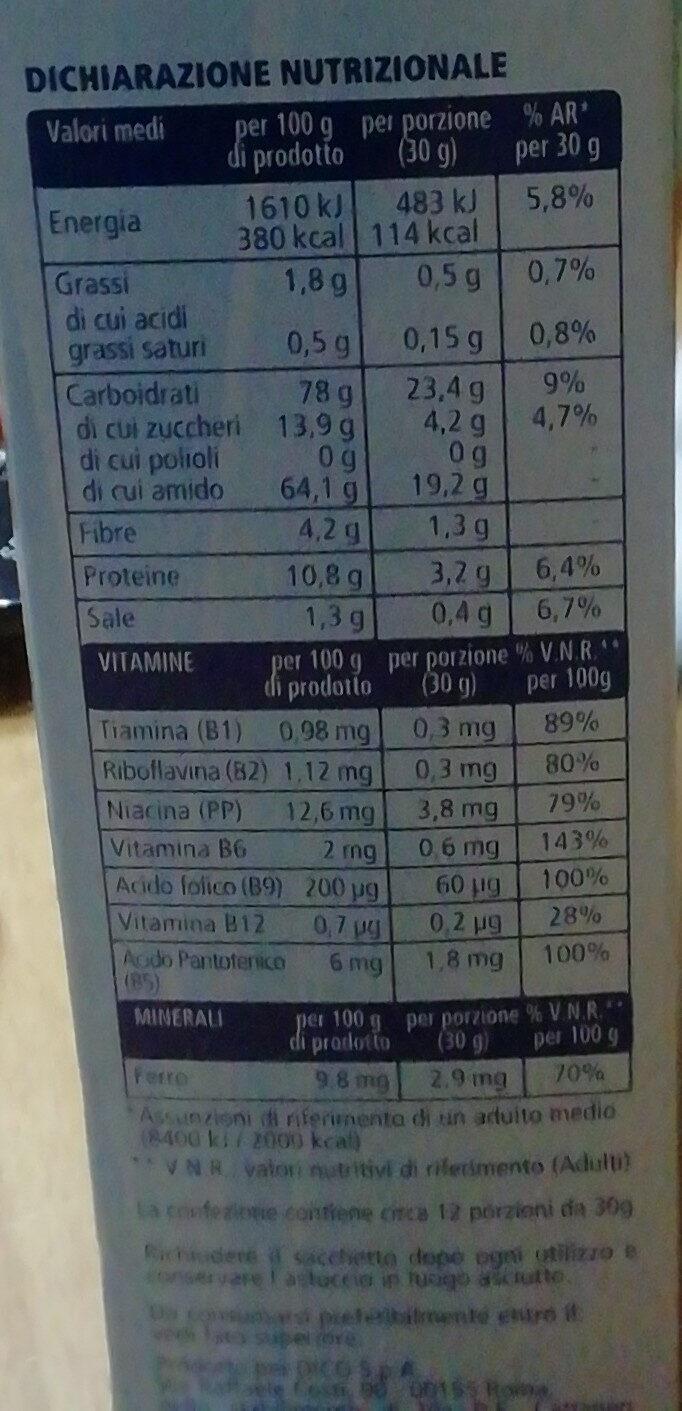 Cereali multigrain Fiocchi di riso e frumento integrale arricchiti con vitamine B1, B2, PP, B6, acido folico, B12, B5 e ferro - Informations nutritionnelles - it