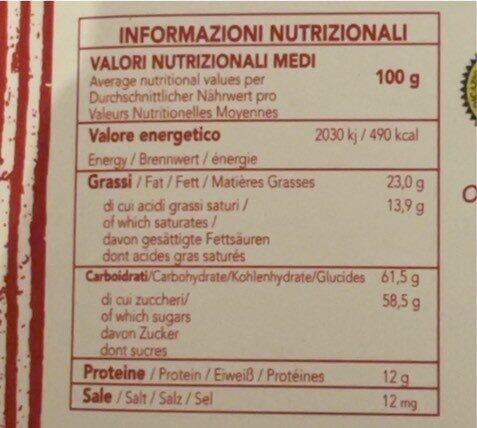 Cioccolato modica peperoncino - Informazioni nutrizionali - it