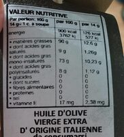 Huile d'olive extra vierge - Nutrition facts