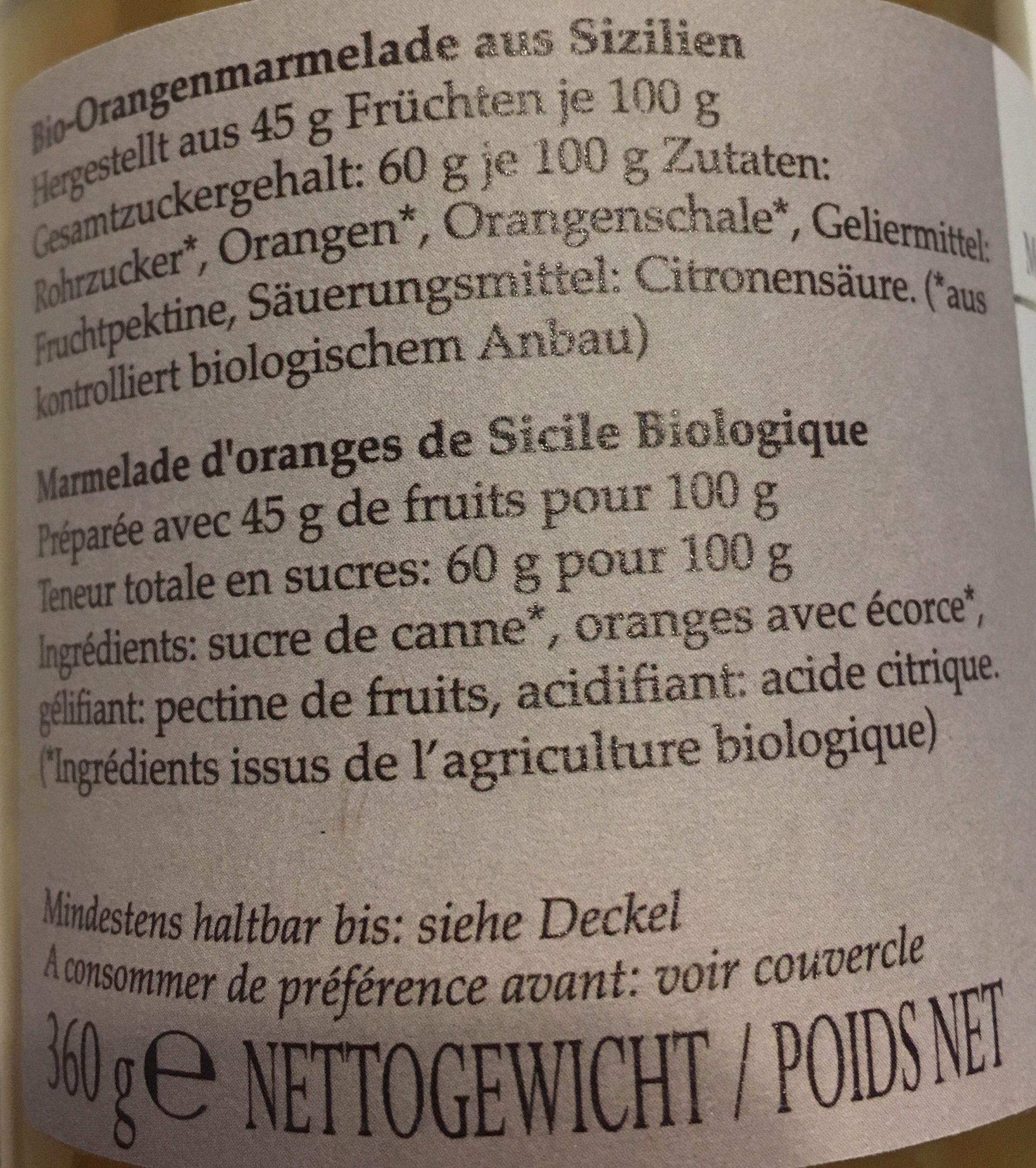Orangen Marmelade - Ingrédients - fr