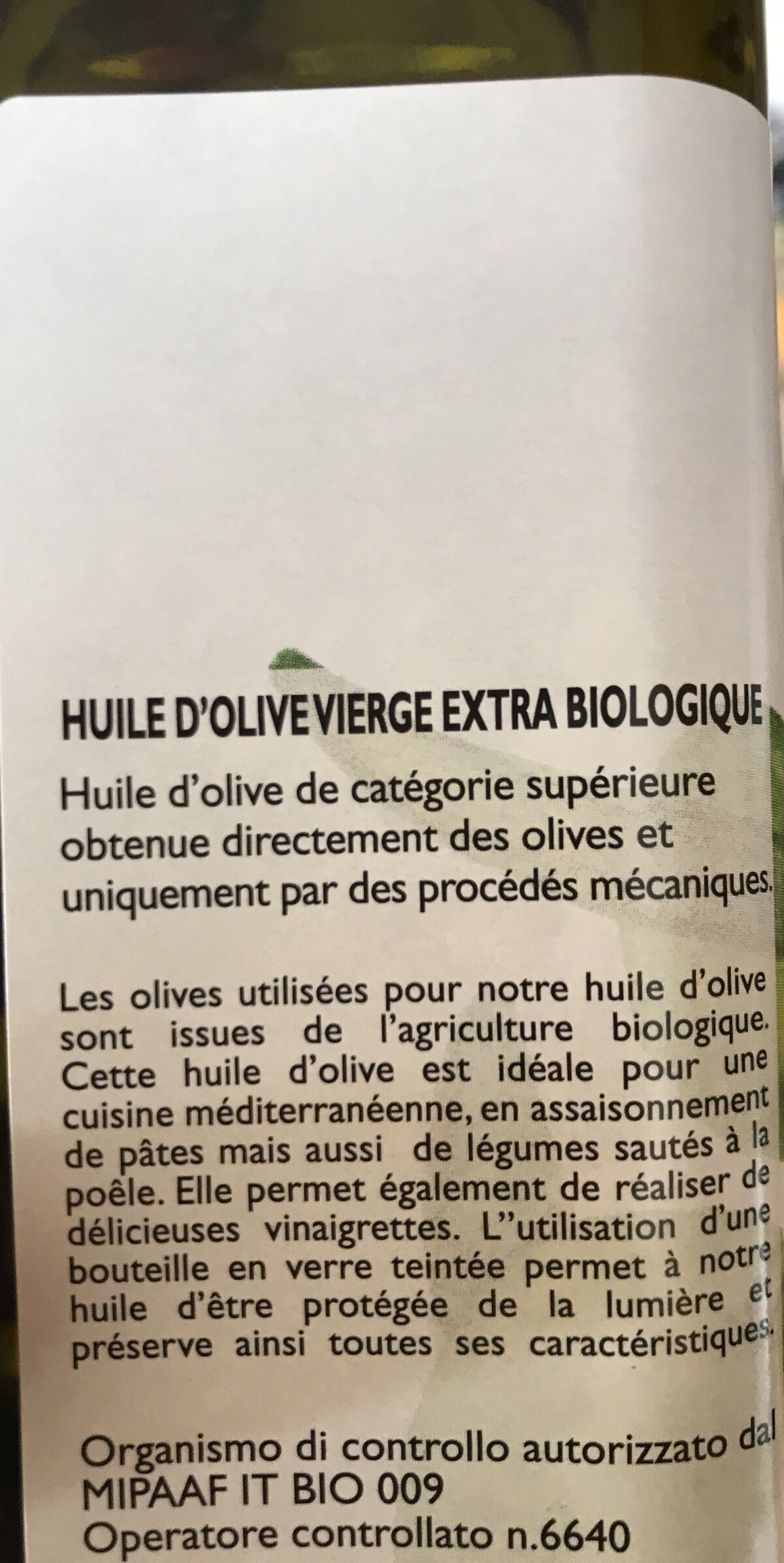 Huile d'olive vierge extra 100% Tunisie - Ingrédients