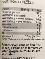 Huile d'olive vierge extra 100% Tunisie - Informations nutritionnelles
