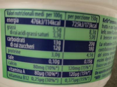 kefir cremoso pesca e albicocca - Informazioni nutrizionali