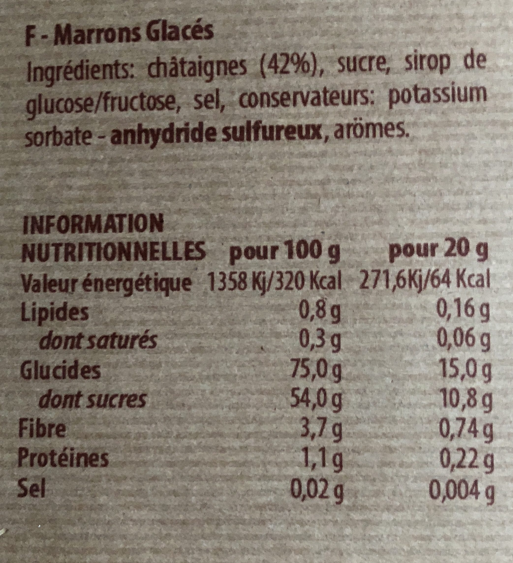 Marrons Glacés - Ingredients