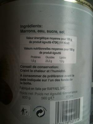 calorie Marrons Entiers