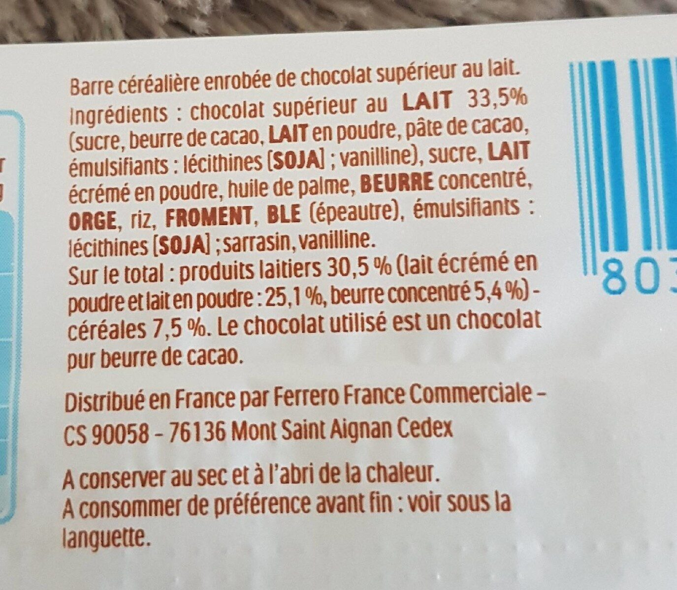 Kinder country barre de cereales enrobee de chocolat 1 barre - Ingredients - fr