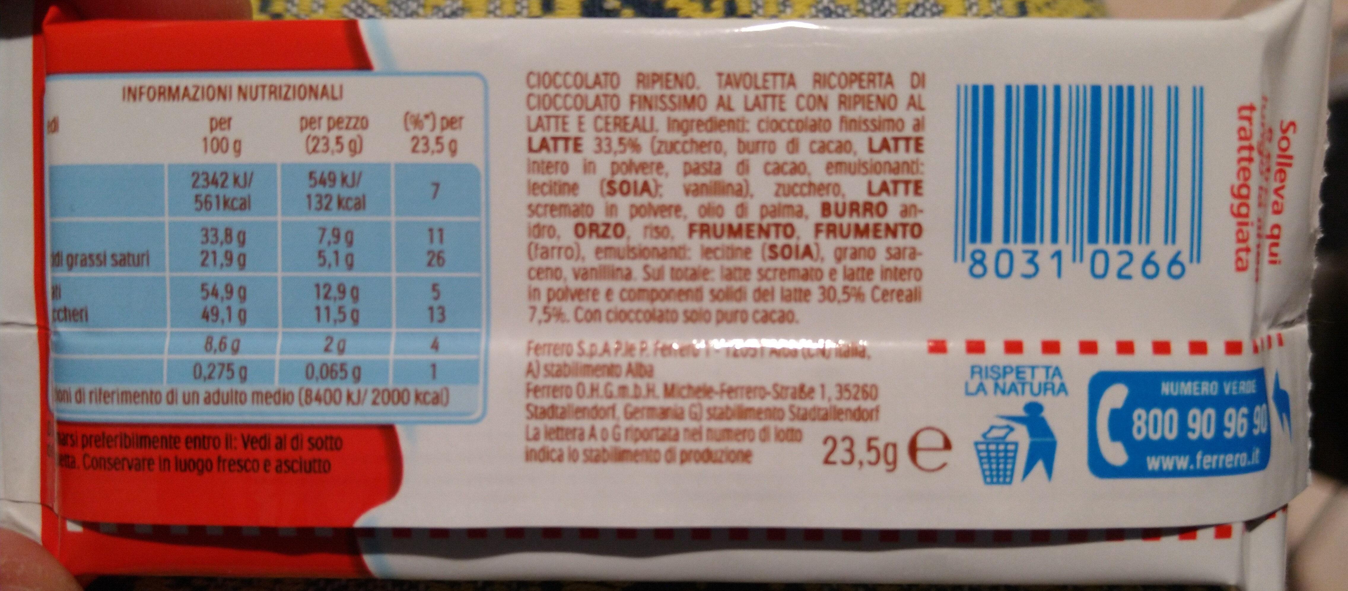Kinder country barre de cereales enrobee de chocolat 1 barre - Ingredienti - it