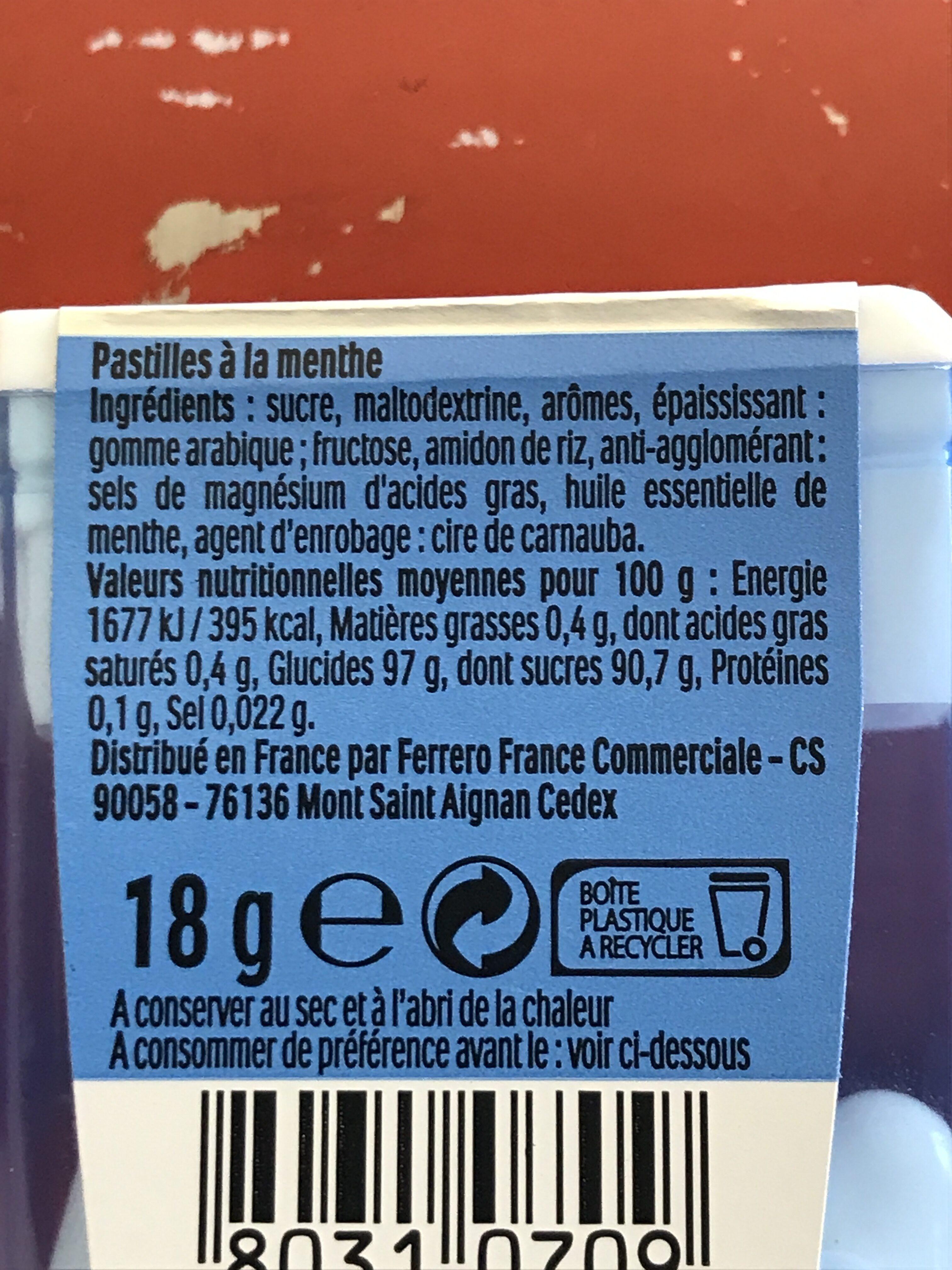 Bonbons tic tac goût menthe extra fraiche - Ingrédients - fr