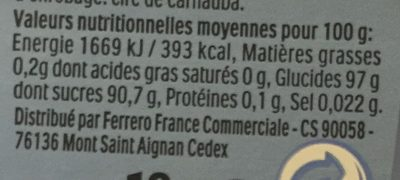 Bonbons tic tac goût menthe extra fraiche - Voedingswaarden - fr