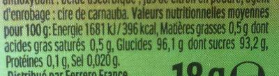 Tic Tac goûts citron vert & orange - Voedingswaarden - fr