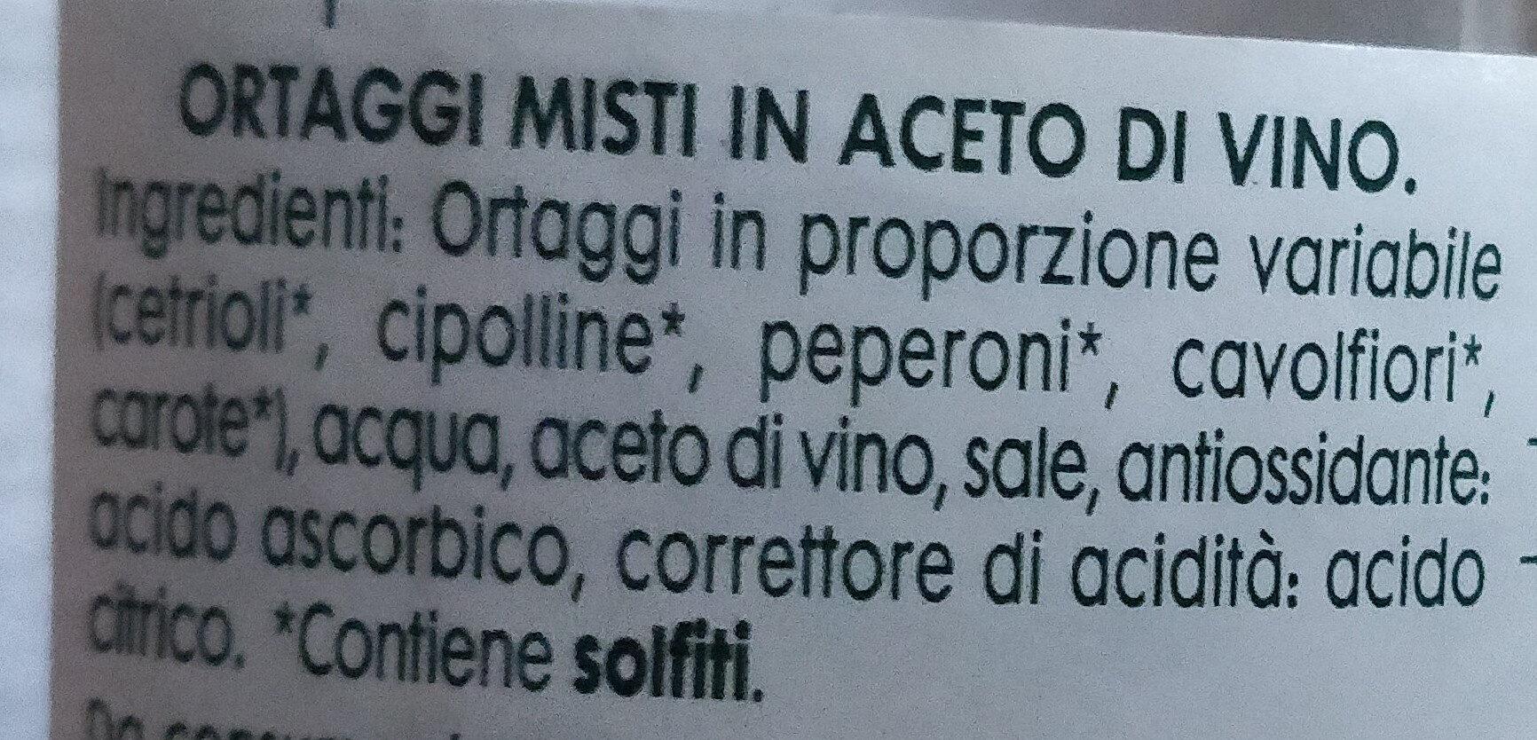 Giardiniera con aceto di vino - Ingredients - it