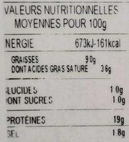 Citterio prosciutto cotto Bio - Voedingswaarden - fr