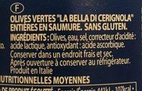 Olives vertes entières La Bella Di Cerignola en saumure - Ingrédients - fr
