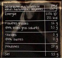 L'Unico Jambon sec Italien - Informations nutritionnelles - fr