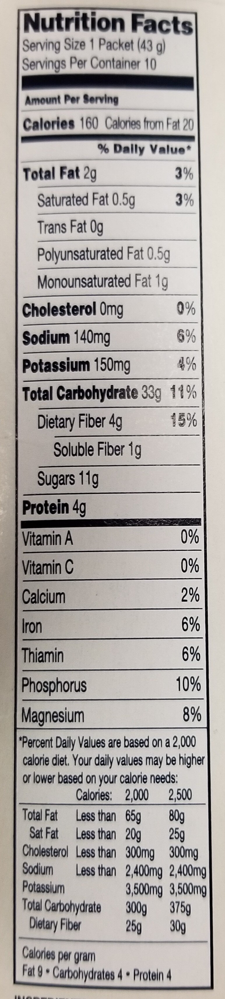 Instant Oatmeal Apples & Cinnamon - Nutrition facts