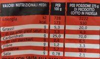 Findus penne tricolore pomodoro mozzarella basilico - Informations nutritionnelles - en