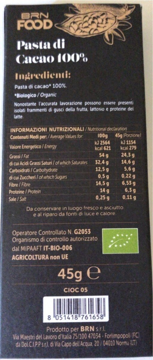 Pasta di cacao - Informations nutritionnelles - it