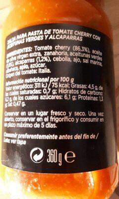 Salsa de tomates cherry - Información nutricional - en