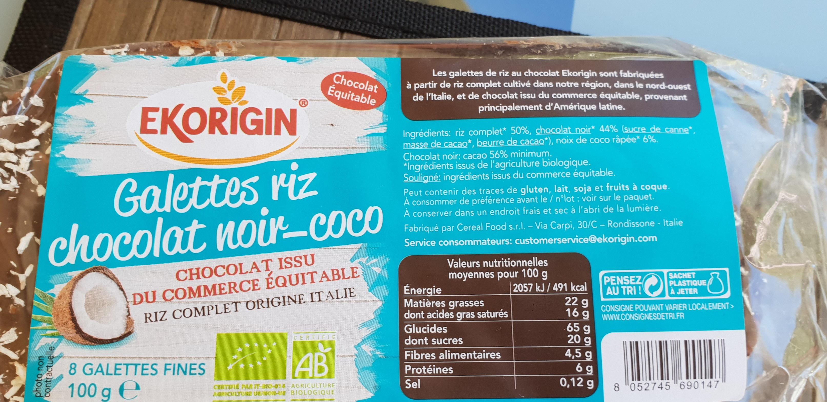 Galette de riz chocolat noir coco - 产品 - fr