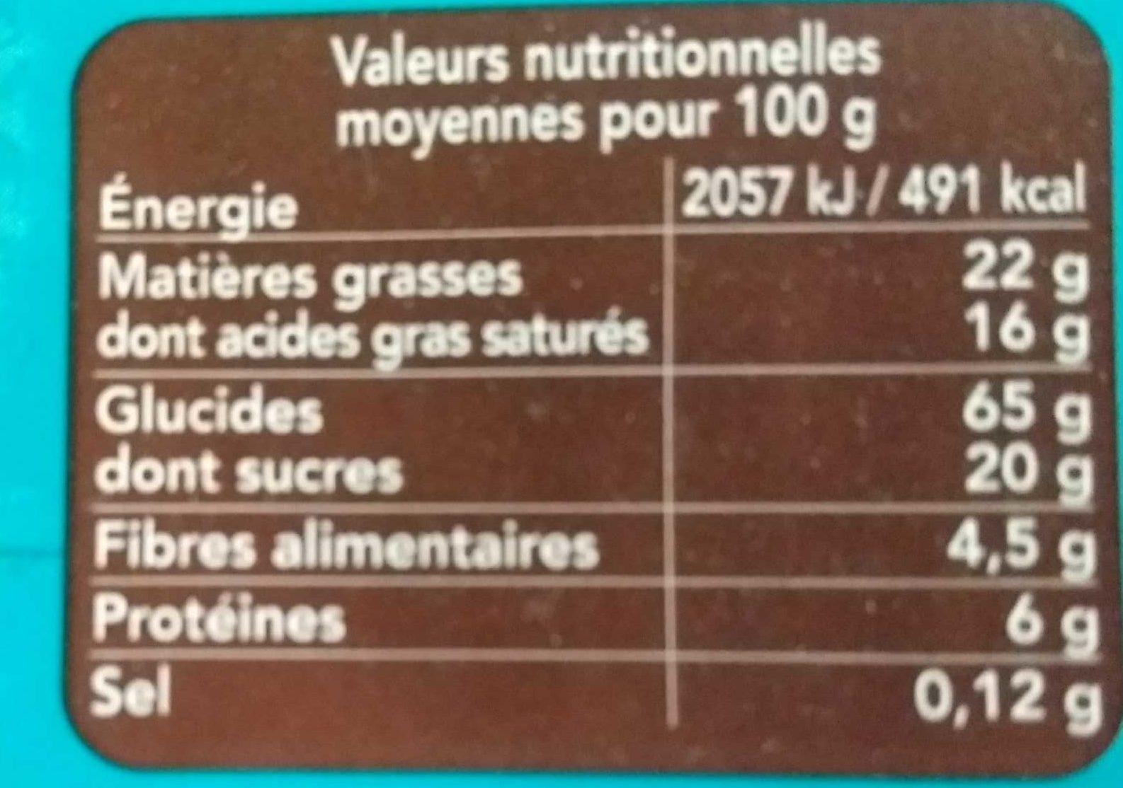 Galette de riz chocolat noir coco - 营养成分 - fr