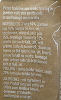 Ravioli Jambon Cuit, Petits Pois et Mozzarella - Ingrediënten - fr