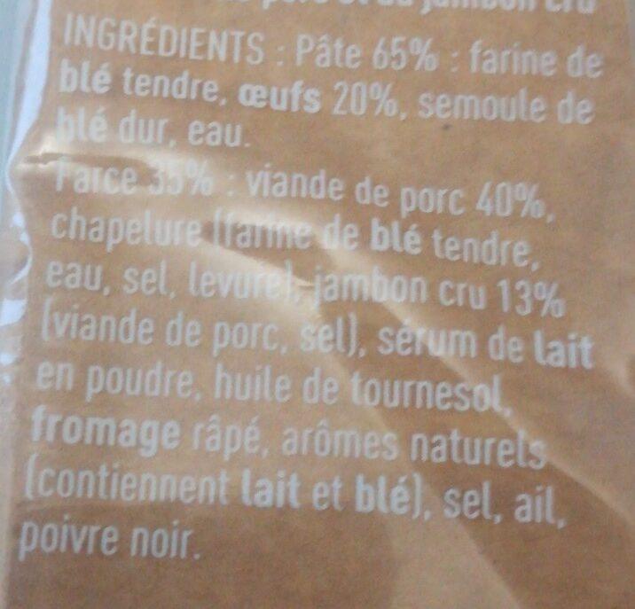 Cappelletti Jambon Cru - Ingredients - fr